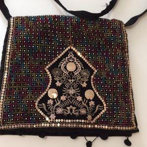 Black velvet purse zipper pocket